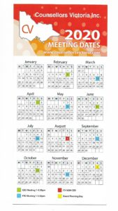 COUNSELLORS VICTORIA MEETINGS CALENDAR 2020